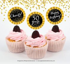Cupcake Topper 50th Birthday  Cheers to 50 years  Printable