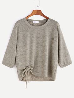 Shop Khaki Eyelet Tie Hem T-shirt online. SheIn offers Khaki Eyelet Tie Hem T-shirt & more to fit your fashionable needs. Sewing Clothes, Diy Clothes, Clothes For Women, Crop Top Outfits, Mode Outfits, Diy Sweatshirt, Dress Sewing Patterns, Blouse Dress, Refashion