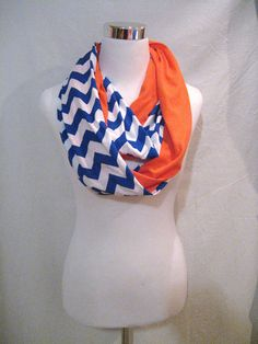Denver Broncos scarf LONG Royal Blue Chevron and Solid Orange lots more team color scarves available by ChevronScarf
