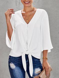 White Turtleneck, Casual Tops For Women, White V Necks, V Neck Dress, Shirt Dress, Work Casual, White Women, Shirt Blouses, Casual Shirts