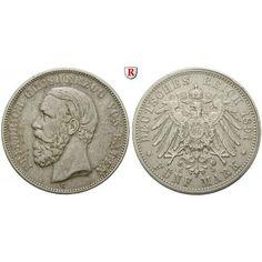 Deutsches Kaiserreich, Baden, Friedrich I., 5 Mark 1891, G, ss, J. 29F: Friedrich I. 1852-1907. 5 Mark 1891 G. ohne Querstrich beim… #coins