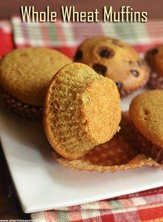 Whole Wheat Vanilla Muffins Recipe (Eggless & Butterless) - Sharmis Passions Eggless Recipes, Eggless Baking, Pudding Recipes, Baking Recipes, Snack Recipes, Eggless Muffins, Easy Recipes, Puri Recipes, Eggless Desserts
