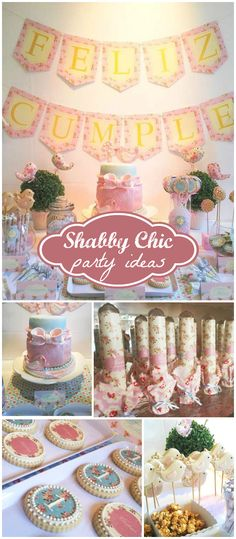 Love this floral shabby chic party! Beautiful cookies and party favors! See more party planning ideas at CatchMyParty.com!