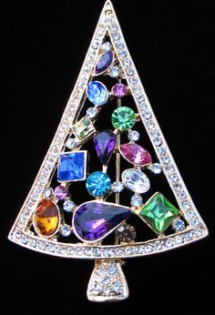 "GOLD MULTI SIZE SHAPE PINK PURPLE BLUE RHINESTONE CHRISTMAS TREE PIN BROOCH 3"" in Jewelry & Watches, Fashion Jewelry, Pins & Brooches 