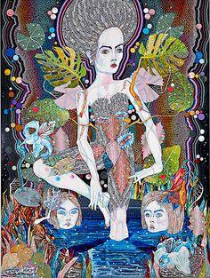 Del Kathryn Barton sapling , acrylic on French linen ; Australian Painting, Australian Artists, Del Kathryn Barton, Les Oeuvres, Painting & Drawing, Illustrators, Art Gallery, Fantasy, Celebrities