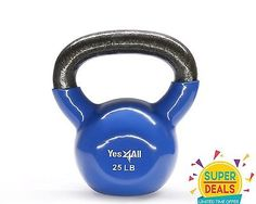 Vinyl Kettlebell Cast Iron Exercise Weight Training Coated 25 lbs. - KD6SE3