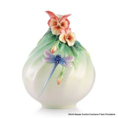 FZ03132 Franz Porcelain Pansy and dragonfly sweet smile vase new summer 2013