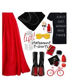 """""""go bold & red"""" by nataskaz ❤ liked on Polyvore featuring Reem Acra, Vetements, Yves Saint Laurent, NARS Cosmetics and Gucci"""