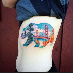 The Absolute Best State of California Tattoo Cali Tattoo, Phönix Tattoo, Tattoo Outline, Head Tattoos, Body Art Tattoos, Tatoos, Panda Tattoos, Wolf Tattoos, California Bear Tattoos