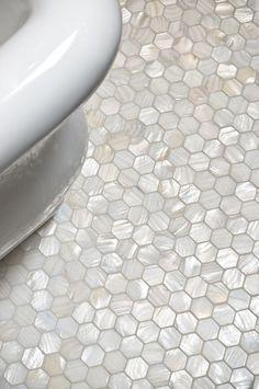white hexagon bathroom back splashes - Google Search
