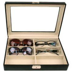 Eyeglasses Sunglasses Storage Case Leather Box Organizer For 6 Glasses Tech  Swiss,http:/