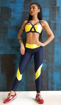 #yellow And #blue #tracksuit Pants #gym #clothing #activewear #workout #fitness #gymwear #womenfitness