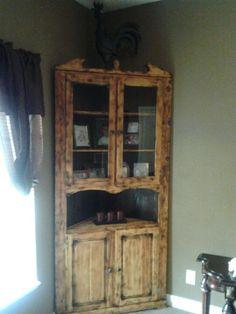 Rustic Log Cabin Corner cabinet   Home Improvement   Pinterest ...