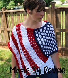 This Stars and Stripes knitted lace poncho is a great way to show some American Pride! Using Caron Simply Soft yarn, will make it light weight and soft next to your skin. you will only need about 120 yards of each color and size 10.5 knitting needles. An advance beginner should have no trouble with this pattern. It comes with row by row instructions and pictures. Of course it doesn't have to be made in red, white and blue. There are so many options when it comes to this poncho. Perfect for…