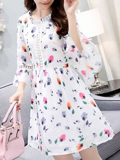 Fashionable Ruffled Neck 3/4 Sleeve Floral Print Women's Mini Dress