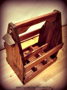 Beer Caddy / Six Pack Wood 12oz Bottle Drink Carrier / Drink Tote / Homebrew / Rustic Bottle Opener
