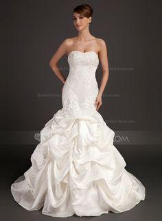 Wedding Dresses - $234.99 - Mermaid Sweetheart Chapel Train Satin Wedding Dress With Lace Beadwork (002015486) http://jenjenhouse.com/Mermaid-Sweetheart-Chapel-Train-Satin-Wedding-Dress-With-Lace-Beadwork-002015486-g15486