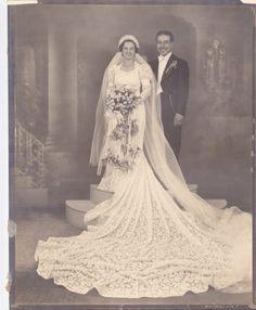 Bride and Groom Vintage Photograph (UU). He looks happy!!!!  Anticipation!!!!