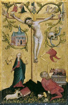 Anónimo alemán activo en Westfalia Cristo en la cruz como Redentor del Mundo (ala derecha) c. 1410 Tabla. 28,5 x 18,5 cm Museo Thyssen-Bornemisza, Madrid