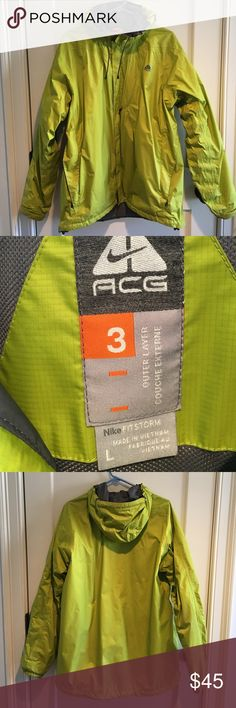 Men's rain jacket Bright chartreuse green stands out well on low visibility overcast days. Has small staining marks over frint left lower edge-barely visible (see photo #4). Grey mesh lining to help with warmth and humidity ACG Jackets & Coats Raincoats