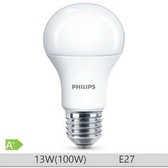 Bec LED Philips 13W E27 forma clasica A60m, lumina rece  http://www.etbm.ro/tag/148/becuri-led-e27