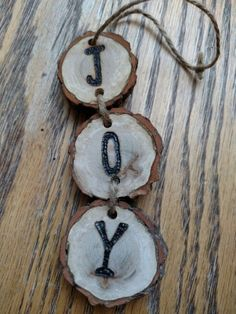 Rustic JOY wood burned Christmas ornament - natural