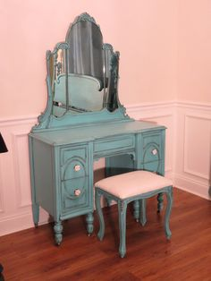 Antique vanity in Turquoise. For Becky