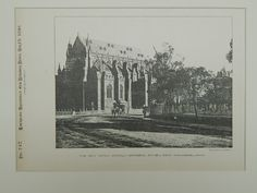 New Roman Catholic Cathedral, Sydney, NSW, Australia, 1890, Lithograph. Wardell.