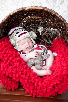 Crochet Baby Boy Sock Monkey Hat Newborn 03 and 36 by InHsTyme, $21.99