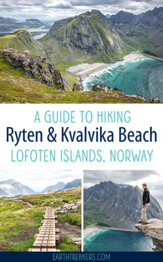 How to Hike Ryten and Enjoy the View over Kvalvika Beach - Ryten Hike in the Lofoten Islands, Norway. Enjoy awesome views over Kvalvika Beach. Norway Roadtrip, Hiking Norway, Norway Travel Guide, Hiking Europe, Norway Vacation, Cool Places To Visit, Places To Travel, Travel Destinations, Oslo