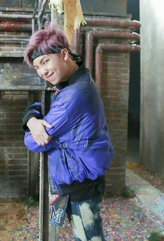 Rap Monster BTS/// *wishes I was that pole*