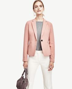 Ann Taylor Single Button Blazer Blush Pink - Perfect to dress up a work outfit for petite professional women's fashion! Pin now to save for style ideas later!