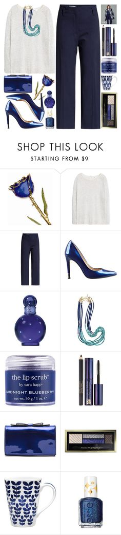 """""""Starry Night"""" by grozdana-v ❤ liked on Polyvore featuring MANGO, Jil Sander, GUESS, Britney Spears, Sara Happ, Estée Lauder, Max Factor, Noritake, Essie and HolidayParty"""