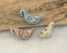 Ceramic Art Focal Bird Beads - 3 Handmade Artisan Stoneware Clay Beads in Blue, Buff and Brown - by Emma Ralph UK Bead Artist https://etsy.me/2Jmpe6Z  #jewellerymaking  #ceramicbeads #handmade #sra #artbeads