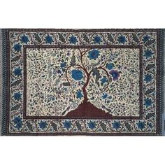 Handmade 100% Cotton Tree of Life Tapestry Tablecloth Spread Twin 70x104 Purple (Full)