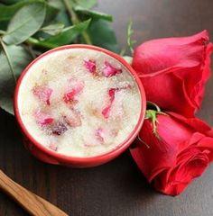 Rose Sugar Scrub Recipe with fresh rose petals. #valentinesday #mothersday