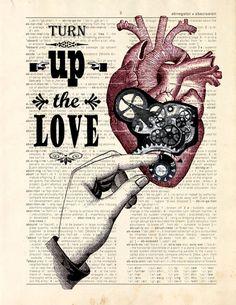 Dictionary Print Mechanical Heart Turn up the par ArtOfThePage, $10,00
