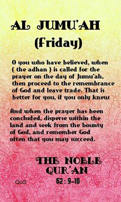 Surah Al Jumu'ah The Noble Quran 62 : 9-10  Quran alone @ Muslim Villa www.muslimvilla.smfforfree.com