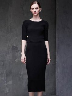Beautiful Half Sleeve Slim Fit Solid Color Hollow Maxi Dress Suit - oshoplive