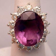 Dazzling Estate Amethyst Diamond White Gold Ring