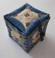 Japanese Folded Patchwork made into a fabric box by Jenny Hermans. Shweshwe works so well for this project!