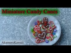▶ Miniature Candy cane, Christmas sweets and gumdrops - 1:12 scale polymer clay doll food - YouTube#t=243
