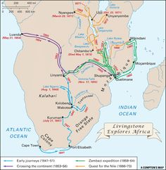 "A map of the travels of David Livingstone, the first European to see Victoria Falls and the subject of the famous line ""Dr. Livingstone, I presume?"""