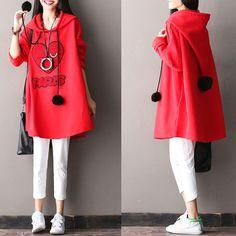 Cotton Hooded Loose Coat – Buykud