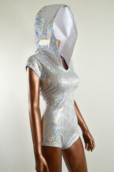 Sparkling Silver Holographic Bodysuit Romper by CoquetryClothing, $59.99