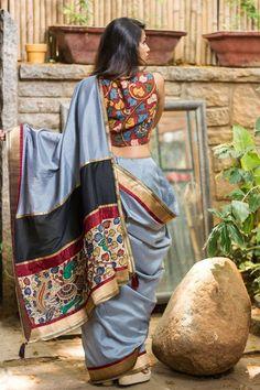 high neck sleeveless kalamkari blouse