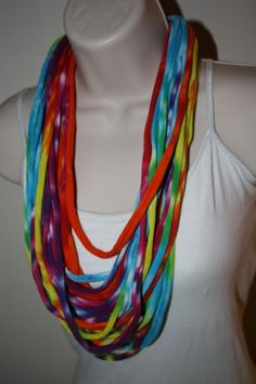 Upcycled t shirt tie dye necklace!