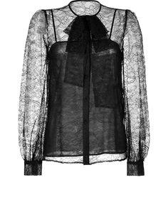 Emilio Pucci Lace Tie Neck Blouse In Black $1,294.00 - Buy it here: https://www.lookmazing.com/emilio-pucci-lace-tie-neck-blouse-in-black/products/4978212