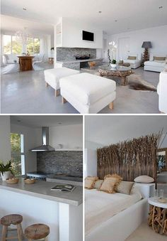 I love the white in this open floor plan.  They painted/stamped concrete floor rocks.m.   ibiza home by the style files