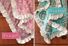 "Simplified: 3 layers flannel (pre-washed, approx 1 yd each, 1 layer plain, 2 layers patterned), extra wide satin ribbon (approx 360"" or 10 yds). Use a small drinking glass to trace an even rounded edge on all flannel layers, cut away square corners. Use a ruffler attachment to sew satin ruffle, sew to plain flannel layer. Iron hem on patterned layers, then stack (right sides out), pin, and sew."